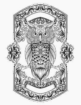Illustration owl bird mandala style with engraving ornament