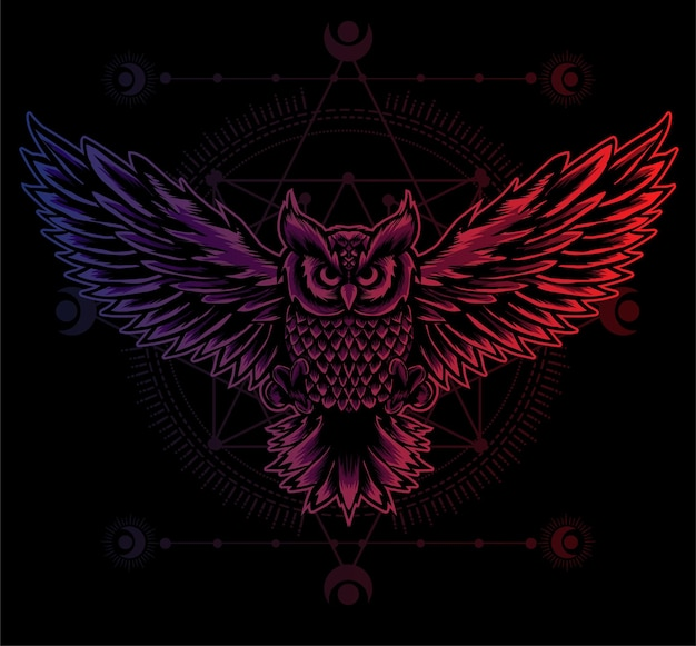 Illustration owl bird with gradient color