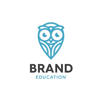 Illustration of owl design logos for education, with a touch of modern style and logo design lines