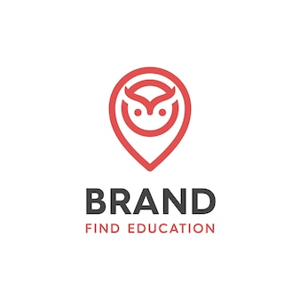 Illustration of owl design logos and location pins for educational applications, with a touch of modern style and logo design lines