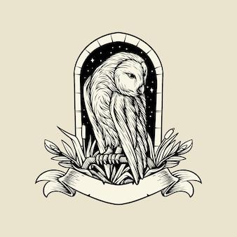 Иллюстрация сова рисунок с цветком и лентой винтажный вектор