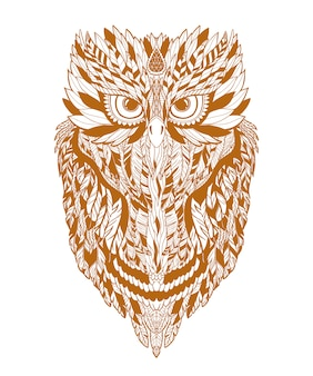 Illustration owl on forest silhouette background and star