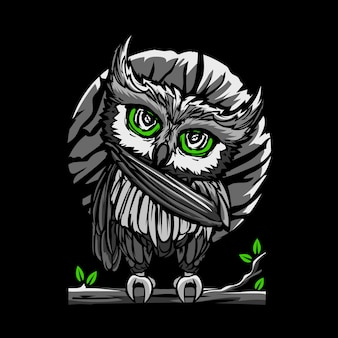 Illustration of owl standing at night