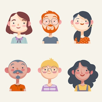 Illustration pack of people avatars