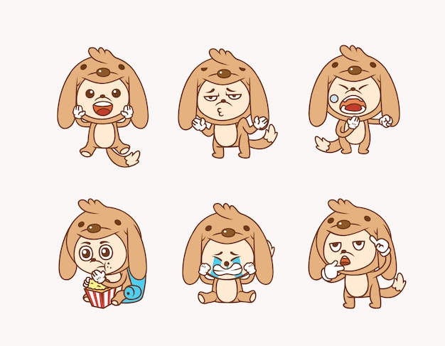 Illustration pack of people wearing cute dog costume with different activities and facial expression