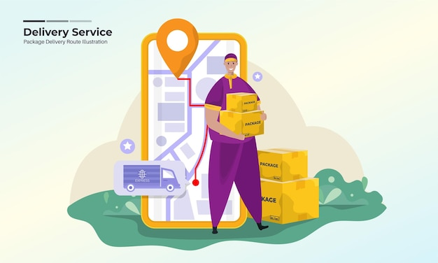 Illustration of package delivery service with an online route to destination concept