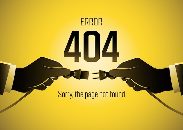 An illustration of page 404 error with businessman hands holding the electric plug