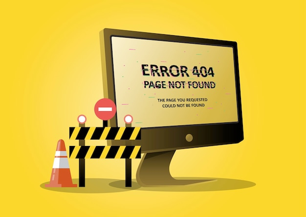 An illustration for page 404 error with a desktop computer and forbidden sign. page is lost and not found message.
