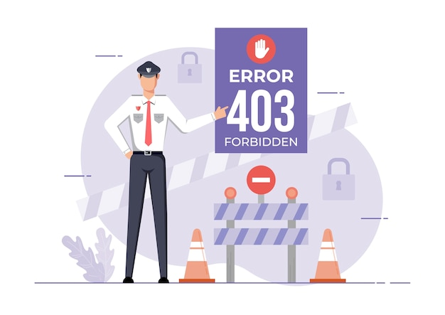 An illustration for page error forbidden site. connection error access denied.