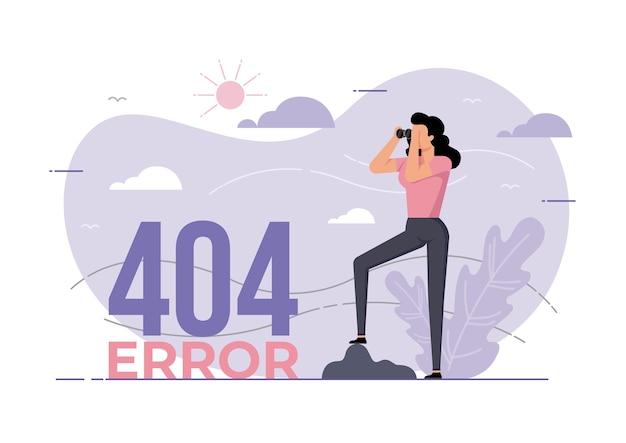 An illustration for page error with a woman looking through binoculars. page is lost and not found message.