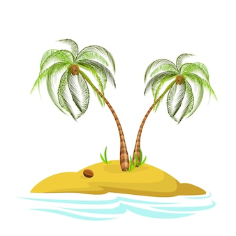 Illustration of a palm tree on an island decorative palm tree isolated on white background