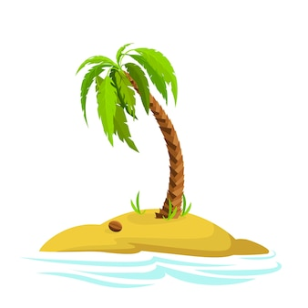 Illustration of a palm tree on an island decorative palm tree isolated on white backgroundm