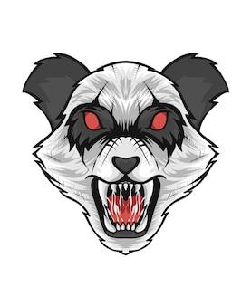 Иллюстрация головы панды сердитое лицо