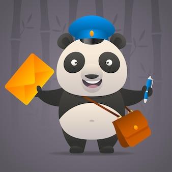 Иллюстрация, панда почтальон держит письмо, формат eps 10