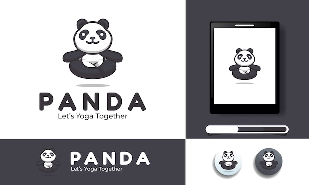 Illustration of a panda in yoga suitable for logo and icon template