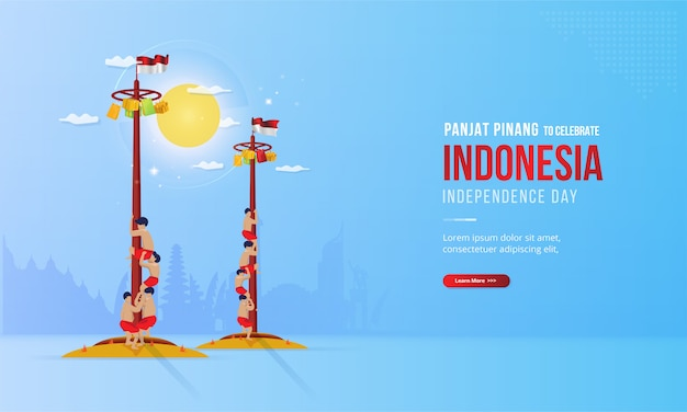Illustration of panjat pinang or pole climbing to celebrate indonesia's independence day