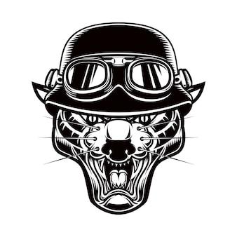 Illustration of pantera head in biker helmet. design element for logo, label, emblem, sign, poster, t shirt.
