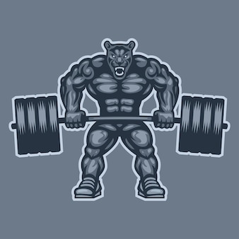Illustration, panther bodybuilder lifting barbell and growls, format eps 10