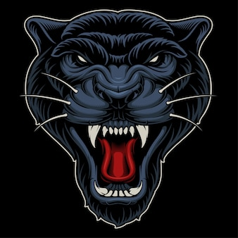 Illustration of panther. design of sport mascot on dark background.