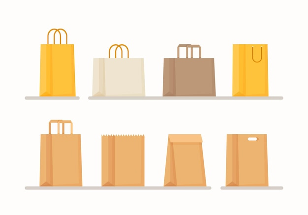 Illustration of a paper bag. purchase in the store. flat style drawing.