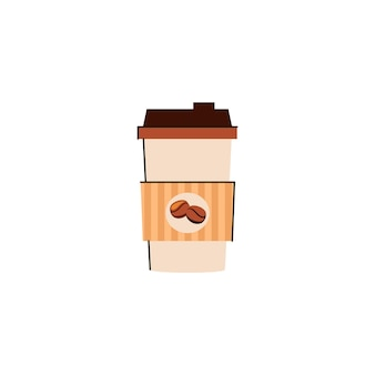 Illustration of a paper coffee cup with hot coffee