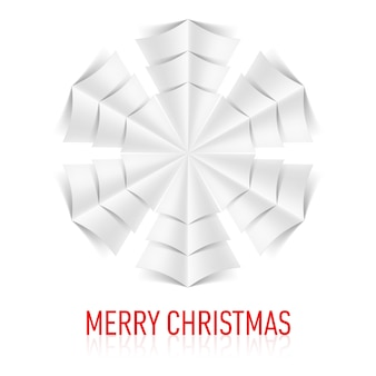 Illustration of paper snowflake on white background. christmas card.