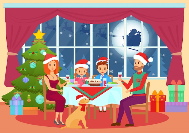 Illustration of parents and children kids sitting at table and dining on christmas eve