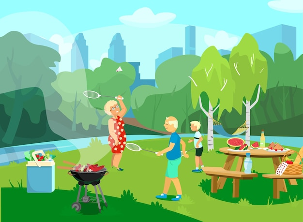 Illustration of the park csene with grandparents and grandchild having picnic and barbecue in the park, playing badminton. cartoon style.