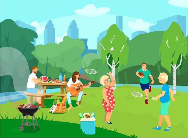 Illustration of the park csene with people having picnic and barbecue, playing rugby, badminton.