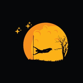 Illustration of parkour logo design, parkour player silhouette