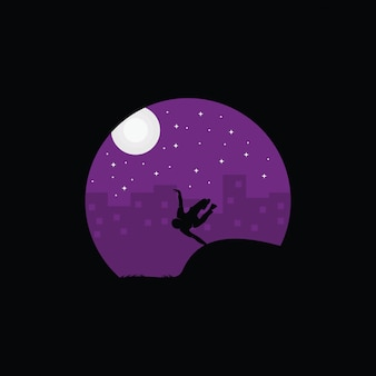 Illustration of parkour logo design, parkour player silhouette