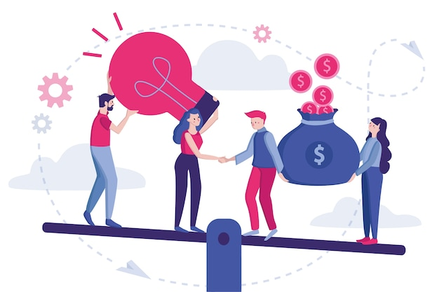 図。パートナーシップの始まり、ビジネスコンセプト、パーティーの合意、握手、署名された契約に立っているビジネス人々。