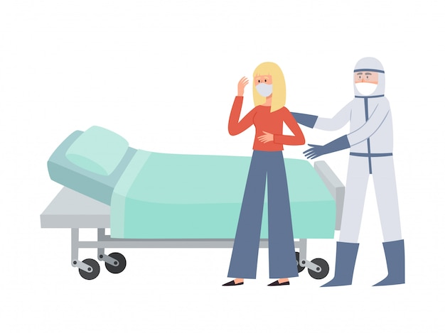 Illustration of patient and doctor in prevention clothes isolated on white. standing medical worker in prevention masks from coronavirus supporting sick woman to go to bed