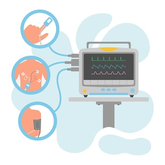 Illustration of patient monitor with accessories