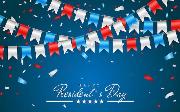ハッピープレジデントデーとホイル紙吹雪、アメリカの色のバンティングフラグと愛国心が強い背景のイラスト。
