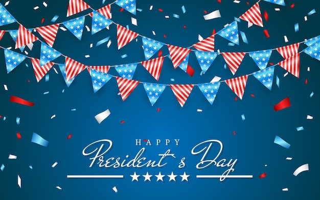 Illustration patriotic background with bunting flags for happy presidents day and foil confetti, colors of usa.