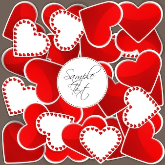 Illustration of pattern with big red hearts and many small hearts