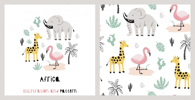 Illustration and pattern with cute giraffe, elephant, flamingo