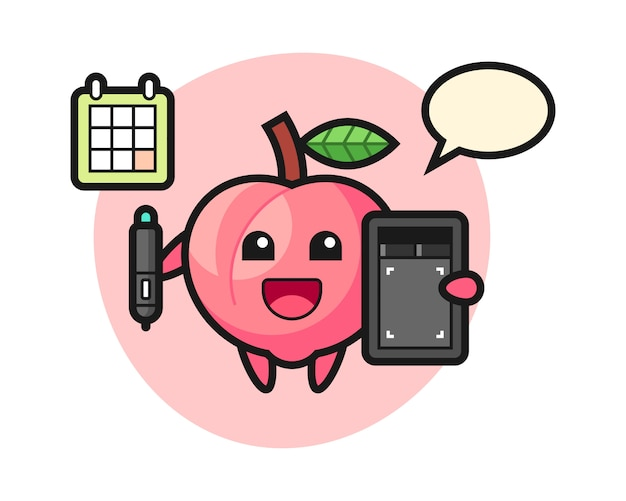 Illustration of peach mascot as a graphic designer, cute style design for t shirt