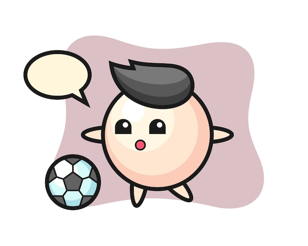 Illustration of pearl cartoon is playing soccer