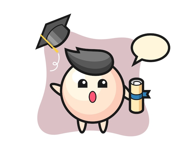 Illustration of pearl cartoon throwing the hat at graduation