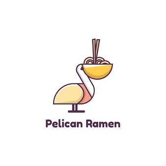Illustration of pelican ramen logo, icon, sticker design template