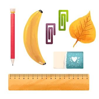 Иллюстрация карандашом, бананом, осенним листом из осины или березы, канцелярскими скрепками, ластиком, линейкой, снова в школу
