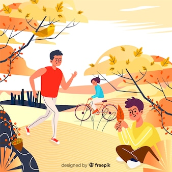 Illustration of people in autumn park