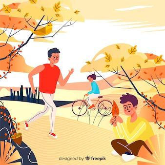 Illustration of people in autumn park