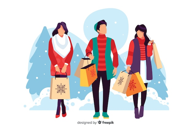 Illustration of people buying christmas gifts