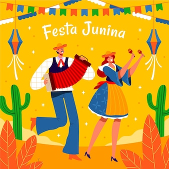 Illustration of people celebrating festa junina