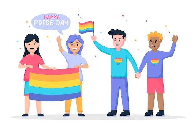 Illustration of people celebrating pride day