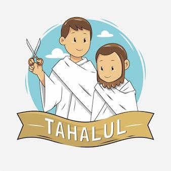 Illustration of people cutting hair during hajj