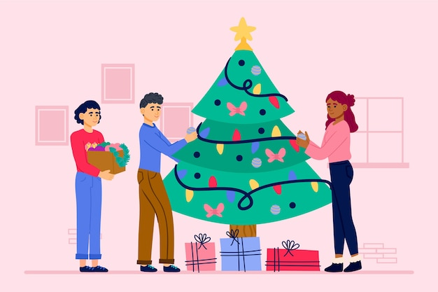 Illustration people decorating christmas tree with ornaments